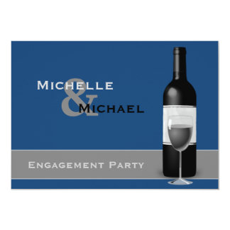 Modern Wine Bottle Engagement Party Card