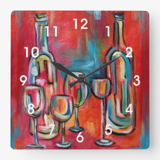 Modern Wine Bottles and Glasses Painting Square Wall Clock
