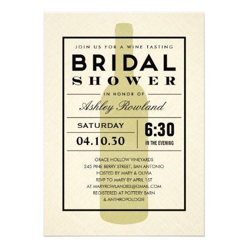 Modern Wine Bridal Shower Invitations (front side)
