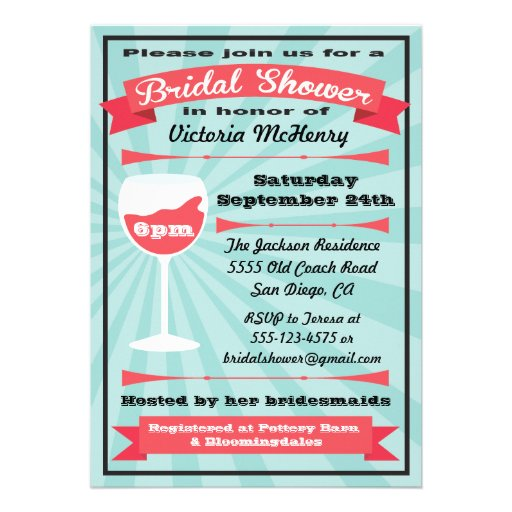 Modern Wine Bridal Shower Party Invitations