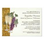 Modern Wine Champagne Glass Theme Bridal Shower 5x7 Paper Invitation Card