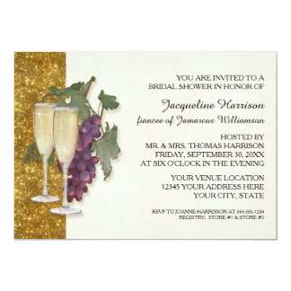 Modern Wine Champagne Glass Theme Bridal Shower Card