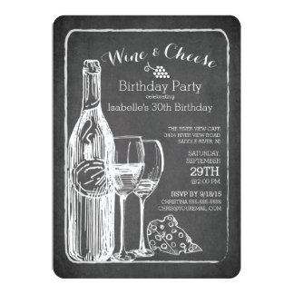 "Modern Wine & Cheese Birthday Party Invitation 5"" X 7"" Invitation Card"