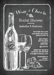 modern wine cheese bridal shower invitation