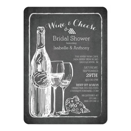 modern wine cheese bridal shower invitation