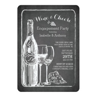 Modern Wine & Cheese Engagement Party Invitation