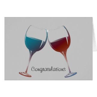 Modern Wine glasses art Cards