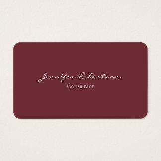 Modern Wine Red Color Plain Unique Business Card