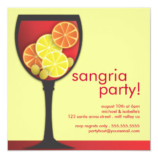 Modern Wineglass Sangria Party Invitation