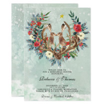 modern winter floral hares rehearshal dinner invitation