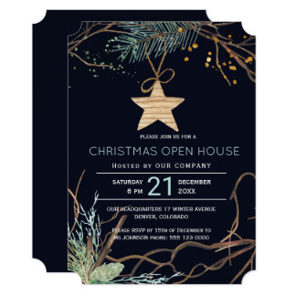 Modern winter forest branches Christmas open house Card