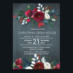 "Modern Winter Navy Red Floral Christmas Open House Invitation<br><div class=""desc"">Elegant winter watercolor Christmas corporate open house invitation template featuring red burgundy and white peony roses bouquets with seasonal pine green fir branches, red berries and foliage over a dark midnight navy blue chalkboard background. Personalize it with your details! The invitation is suitable for winter holidays / Christmas elegant chic...</div>"