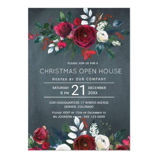 Modern Winter Navy Red Floral Christmas Open House Invitation