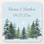 """Modern Winter Pine Trees Wedding Paper Coaster<br><div class=""""desc"""">Coasters to use at a wedding reception,  rehearsal dinner or bridal shower,  with the Modern Winter Pine Trees Wedding invitation theme.</div>"""