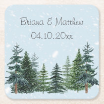 Modern Winter Pine Trees Wedding Paper Coaster