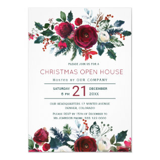 Modern Winter Red Flowers Christmas Open House Card at Zazzle