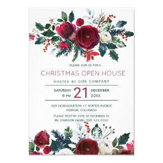 Modern winter red flowers Christmas open house Card