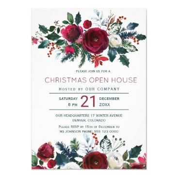 Christmas Themed Modern winter red flowers Christmas open house Card