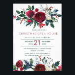 """Modern winter red flowers Christmas open house Invitation<br><div class=""""desc"""">Elegant winter watercolor Christmas corporate open house invitation template featuring red burgundy and white peony roses bouquets with seasonal pine green fir branches, red berries and foliage. Fill in your information in the spots, You can choose to customize it further changing fonts and colors of lettering. ---- Please note that...</div>"""