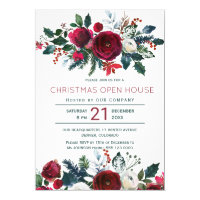 Modern winter red flowers Christmas open house Invitation