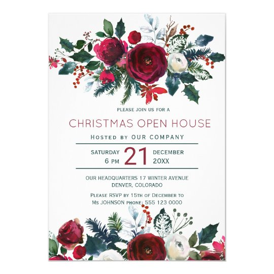 Modern Winter Red Flowers Christmas Open House Invitation Zazzle Com
