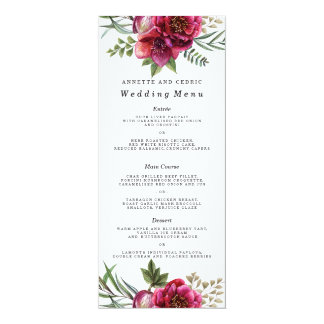 Modern Winter Red Flowers Wedding Menu Card
