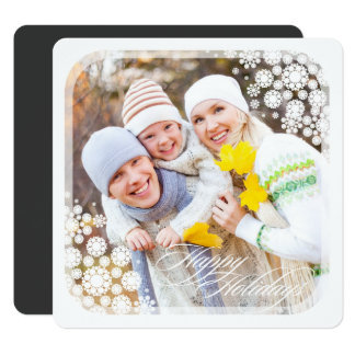 Modern Winter Snowflakes Square Holiday Photo Card