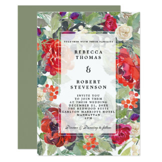 modern winter wedding red berries florals invitation