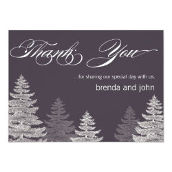 Modern Winter Wedding Thank You Cards Trees 4.5