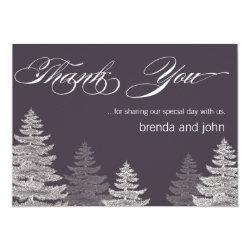 Modern Winter Wedding Thank You Cards Trees 4.5