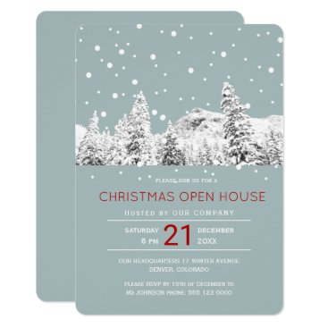 Professional Business Modern winter wonderland Christmas open house Card