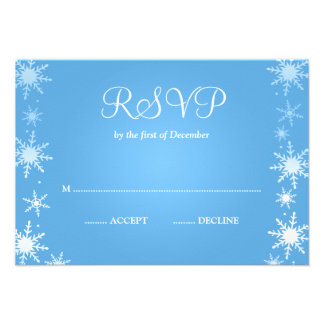Modern Winter Wonderland Snowflake RSVP Personalized Announcements