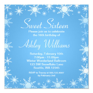 Modern Winter Wonderland Sweet 16 Birthday Party Card
