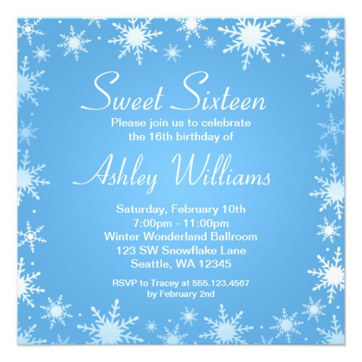 Personalized Winter Wonderland Sweet Invitations - Snowflake party invitation template