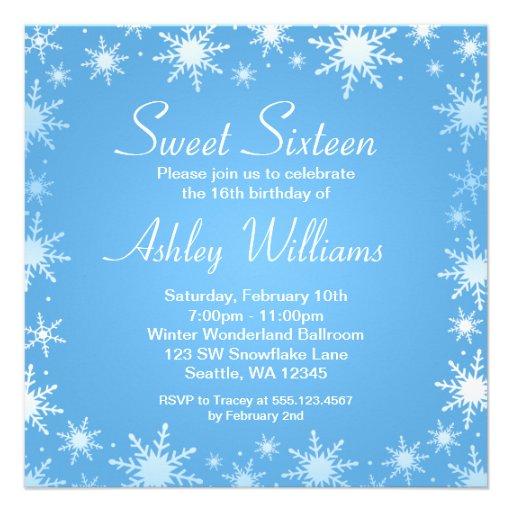 Personalized formal winter wonderland invitations modern winter wonderland sweet 16 birthday party custom invite maxwellsz
