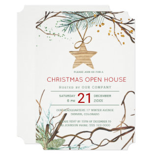 Modern Winter Wood Branches Christmas Open House Card at Zazzle