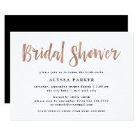 Modern Wish | Faux Rose Gold Bridal Shower Invitation
