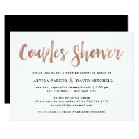 Modern Wish | Faux Rose Gold Couples Shower Invitation