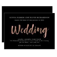 Modern Wish | Faux Rose Gold on Black Wedding Invitation