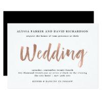 Modern Wish | Faux Rose Gold Wedding Invitation