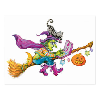 Modern Witch on Broom Postcard