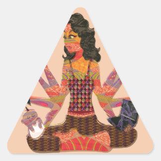 Modern Woman Goddess Hands Choices GIFT Cartoon 07 Triangle Sticker