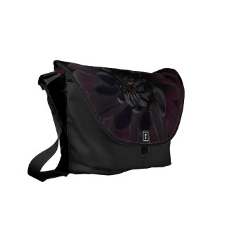 Modern Woman's Floral Black Dahlia Flower Messenger Bag