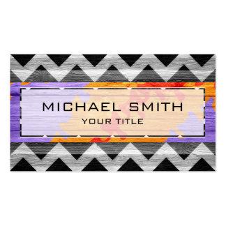 Modern Wood Aztec Chevron Business Card Template