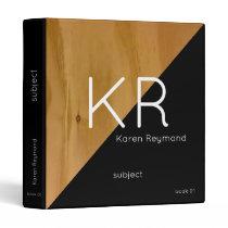 modern wood & black custom subject, monogrammed 3 ring binder
