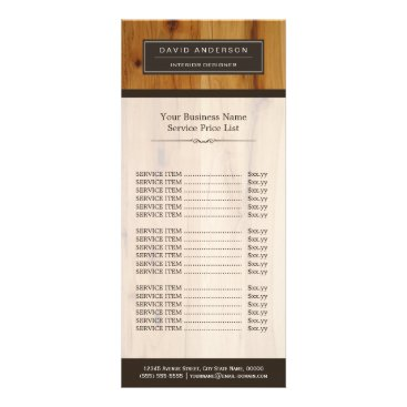 Modern Wood Grain Professional Classy Price List Rack Card