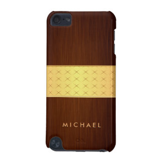 Modern Wood Look in Brushed Rosewood and Gold Band iPod Touch 5G Case