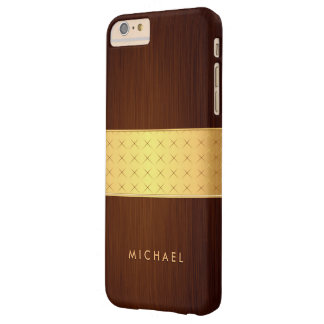 Modern Wood Look in Brushed Rosewood and Gold Band Barely There iPhone 6 Plus Case
