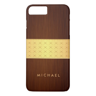 Modern Wood Look in Brushed Rosewood and Gold Band iPhone 7 Plus Case