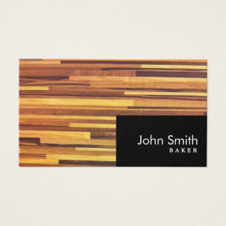 Modern Wood Stripes Baker Business Card